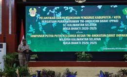 WAKADILMIL I-06 BANJARMASIN HADIRI PELANTIKAN PENGURUS PERSATUAN PURNAWIRAWAN TNI ANGKATAN DARAT (PPAD) KALIMANTAN SELATAN MASA BAKTI 2020-2025