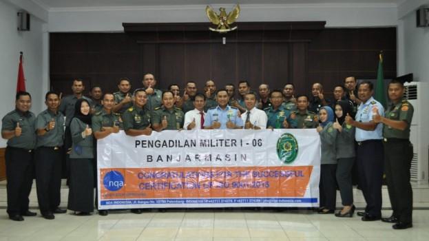 """PENGADILAN MILITER I-06 BANJARMASIN MENERIMA SERTIFIKASI """"ISO-9001:2015"""""""