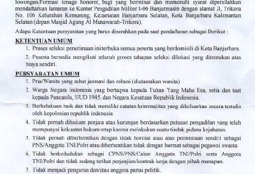 PENERIMAAN TENAGA KONTRAK (HONORER) PENGADILAN MILITER I-06 BANJARMASIN